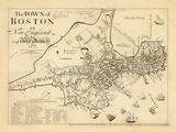 1722, Boston Captain John Bonner Survey Reprinted 1867, Massachusetts, United States Reproduction procédé giclée