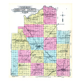 1911, Christian County Outline Map, Illinois, United States Giclee Print