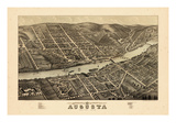 1878, Augusta Bird's Eye View, Maine, United States Giclee Print
