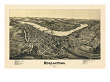 1897, Morgantown Bird's Eye View, West Virginia, United States Giclee Print