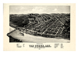 1888, Van Buren Bird's Eye View, Arkansas, United States Giclee Print