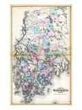 1884, Hancock County Map, Maine, United States Giclee Print