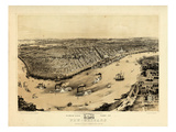 1851, New Orleans Bird's Eye View, Louisiana, United States Giclee Print