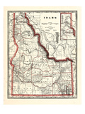 1896, Idaho State Map 24x29, Idaho, United States Giclee Print