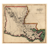 1814, Louisiana State Map, Louisiana, United States Giclee Print