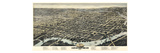 1874, Wilmington Bird's Eye View, Delaware, United States Giclee Print