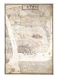 1780, Charleston Siege Map, South Carolina, United States Giclee Print