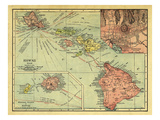 1912, Hawaii State Map, Hawaii, United States Giclee Print