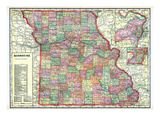 1915, State Map, Missouri, United States Giclee Print