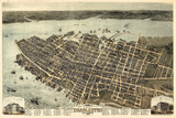 1872, Charleston Bird's Eye View, South Carolina, United States Giclée-Druck