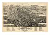 1884, Butte City Bird's Eye View, Montana, United States Giclee Print