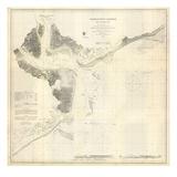 1866, Charleston Hafen Landkarte, South Carolina, Vereinigte Staaten, USA Giclée-Druck