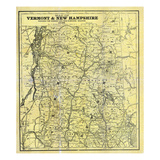 1888, New Hampshire and Vermont 1880 State Map, Vermont, United States Giclee Print