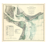 1865, Charleston Harbor Chart South Carolina, South Carolina, United States Giclee Print