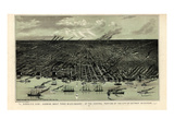 1889, Detroit Bird's Eye View, Michigan, United States Giclee Print