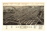 1880, Ann Arbor Bird's Eye View, Michigan, United States Giclee Print
