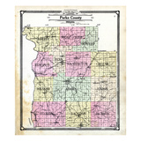 1908, Parke County Outline, Indiana, United States Giclee Print