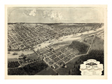 1867, Bay City Bird's Eye View, Michigan, United States Giclee Print
