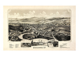 1890, Vergennes 1890c Bird's Eye View, Vermont, United States Giclee Print