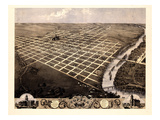 1869, Topeka Bird's Eye View, Kansas, United States Giclee Print