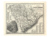 1833, South Carolina Zuglinien und Transport Landkarte, South Carolina, Vereinigte Staaten, USA Giclée-Druck