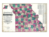 1875, State Map, Missouri, United States Giclee Print