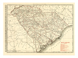 1900, South Carolina Railroad Map, South Carolina, United States Giclee Print