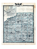 1876, Henry County Map, Galva, Illinois, United States Giclee Print