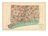 1893, Connecticut State Map, Connecticut, United States Giclee Print