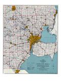 1925, Southeastern Michigan Road Map, Michigan, United States Giclee Print