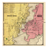 1868, Mystic River Map, Mystic Bridge Map, Connecticut, United States Giclee Print
