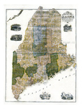 1855, Maine State Map Wall Map, Maine, United States Giclee Print