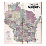 1874, Wisconsin Railroad and Sectional Map, Wisconsin, United States Giclee Print