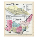 1872, Tyrone Township, Walnut Hill, Taylor, Cunningham, Caut, Washington, Strickler, Pennsylvania Giclee Print