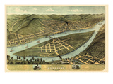 1870, Wheeling Bird's Eye View, West Virginia, United States Giclee Print