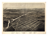 1866, Monroe Bird's Eye View, Michigan, United States Giclee Print