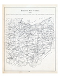 1891, Ohio Railroad Map, Ohio, United States Giclee Print