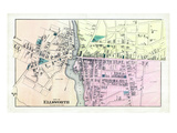 1881, Ellsworth City - Village Plan 2, Maine, United States Giclee Print