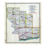 1921, Cedar, Muscatine and Scotty Counties Outline Map, Iowa, United States Giclee Print