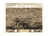 1868, Independence Bird's Eye View, Missouri, United States Giclee Print