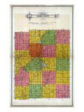 1914, Jasper County Outline Map, Iowa, United States Giclee Print