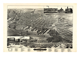 1889, Muskegon Bird's Eye View, Michigan, United States Giclee Print