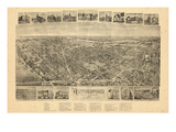 1904, Rutherford Bird's Eye View, New Jersey, United States Giclee Print