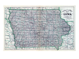 1887, Iowa Rail Road Sectional Map, Iowa, United States Giclee Print