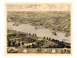 1869, Jefferson City Bird's Eye View, Missouri, United States Giclee Print