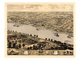 1869, Jefferson City Bird's Eye View, Missouri, United States Giclee Print