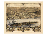 1869, Hermann Bird's Eye View, Missouri, United States Giclee Print