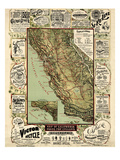 1895, California State Map Roads for Cyclers, bicycling, California, United States Giclee Print