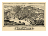 1883, Woburn Bird's Eye View, Massachusetts, United States Giclee Print