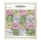 1892, McHenry County Outline Map, Illinois, United States Giclee Print